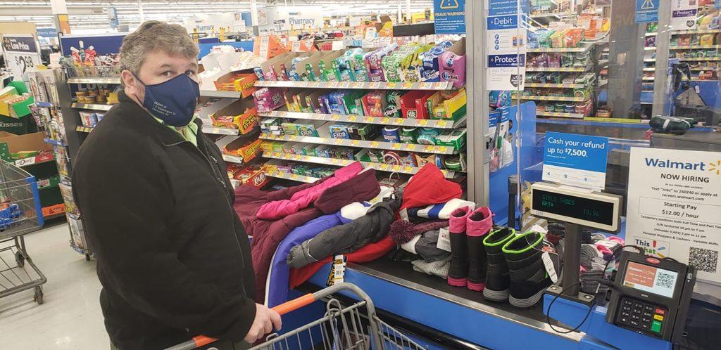 Man shops for family